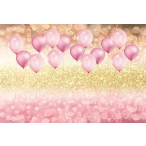 Gold And Pink Glitter Balloon Theme Baby Shower Children Girl Happy Birthday Backdrop Prop