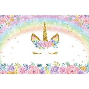 Flower Glitter Rainbow Unicorn Kid Happy Birthday Party Backdrop Photography Background Decoration Prop
