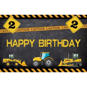 Builder Dump Trucks Boy Happy Birthday Party Backdrop Cake Table Background Decoration Prop