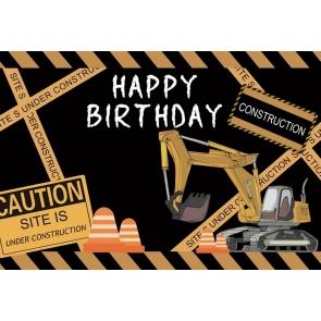 Excavator Construction Theme Boy Happy Birthday Backdrop Cake Smash Background