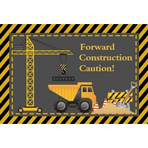 Forward Construction Caution Theme Boy Birthday Baby Shower Party Backdrop  Decoration Prop