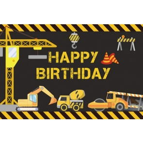 Dump Truck Construction Theme Kid Boy Happy Birthday Backdrop Cake Smash Decoration Prop