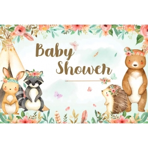 Flower Wild Safari Theme Baby Shower Backdrop Photography Background Decoration Prop