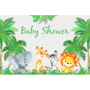 Cute Cartoon Wild Safari Theme Boy Baby Shower Backdrop Photography Background Decoration Prop