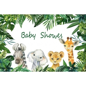 Cute Cartoon Wild Safari Backdrop Baby Shower Photography Background Decoration Prop