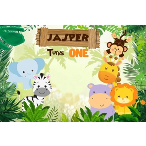 Cute Cartoon Wild Safari Jasper Turns One Children Boy 1st Happy Birthday Party Backdrop