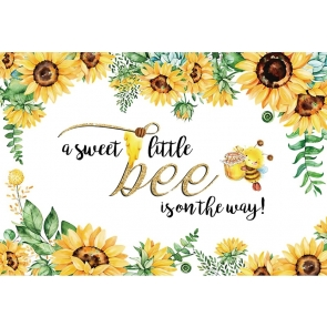 A Sweet Little Bee Is On Theway Sunflower Baby Shower Children Happy Birthday Backdrop Photography Background Decoration Prop