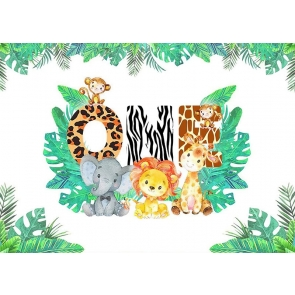Cute Cartoon Safari Backdrop Children 1st  Birthday Party Backdrop Decorations Prop