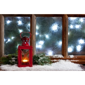 Retro Glass Windows Candlelight Christmas Party Backdrop Stage Photography Background