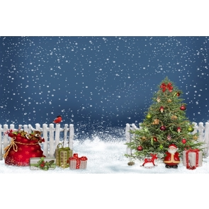 Snowflakes Flying Christmas Tree Backdrop Party Photography Background