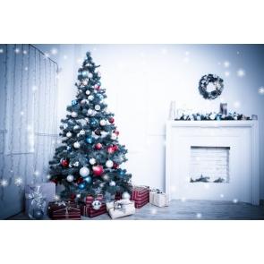 Under White Light Fireplace Christmas Tree Backdrop Party Photography Background