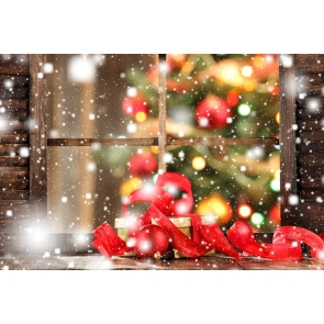 Snowflakes Flying Retro Glass Windows Christmas Party Backdrop Stage Photography Background