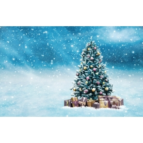 Snowflakes Flying Christmas Tree Backdrop Party Stage Photography Background