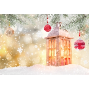 Snow Covered Snowflakes Flying Candlelight Christmas Party Backdrop Stage Photography Background