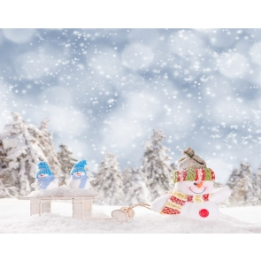 Snow Covered Snowflakes Flying Snowman Christmas Party Backdrop Stage Photography Background