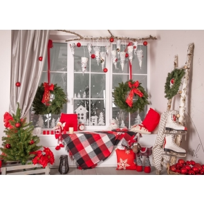 Glass Windows Christmas Wreath Party Backdrop Stage Photography Background