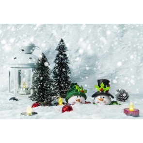 Snowman Christmas Tree Backdrop Party Photo Booth Photography Background