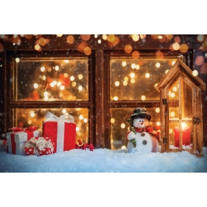 Snow Covered Glass Windows Snowman Christmas Party Backdrop Stage Photography Background