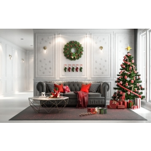 Indoor Living Room Sofa Christmas Tree Backdrop Party Stage Photography Background