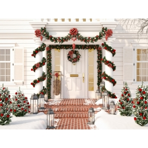 Villa Door Entrance Christmas Party Backdrop Photo Booth Stage Photography Background