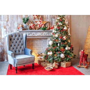 Sofa Christmas Tree Fireplace Backdrop Photo Booth Stage Photography Background