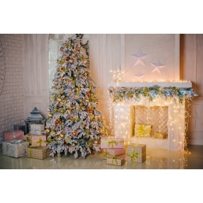 Fairy Lights Decoration Fireplace Christmas Tree Backdrop Party Stage Photography Background