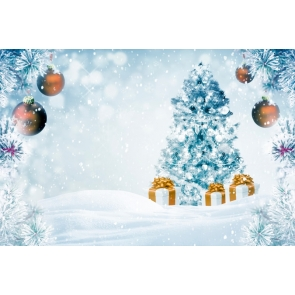 Winter Snow Snowflake Christmas Tree Backdrop Party Stage Photography Background