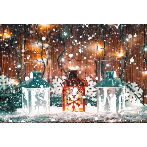 Snowflake Flying Candlelight Light Christmas Party Backdrop Photo Booth Stage Photography Background