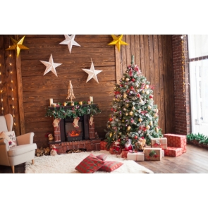 Wood Wall Christmas Tree Backdrop Party Photo Booth Stage Photography Background