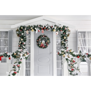 Christmas Tree Branch Garland Decoration White Wood Door Christmas Party Backdrop Photography Background