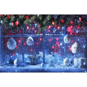 Snowflake Flying Glass Window Christmas Party Backdrop Photo Booth Stage Photography Background