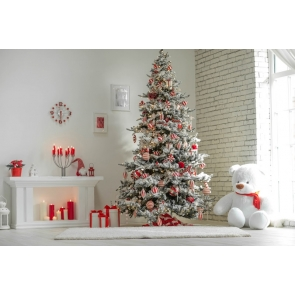 Candlelight Fireplace Christmas Tree Backdrop Party Stage Photography Background