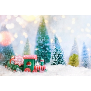 Toy Train Snow Theme Christmas Party Backdrop Photo Booth Stage Photography Background