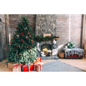 Christmas Tree Retro Fireplace Backdrop Christmas Party Stage Photography Background