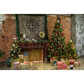 Fairy Lights Decoration Retro Fireplace Christmas Tree Backdrop Party Stage Photography Background