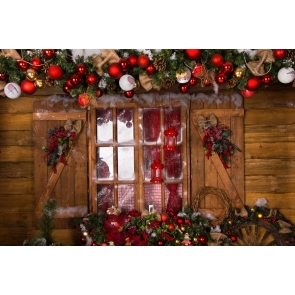 Retro Wood Wall Window Christmas Stage Backdrops Party Photography Background