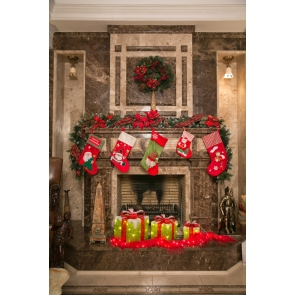 Retro Marble Fireplace Backdrop Christmas Party Photography Background