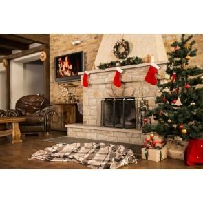 Retro Stone Brick Fireplace Christmas Tree Backdrop Photo Booth Stage Photography Background