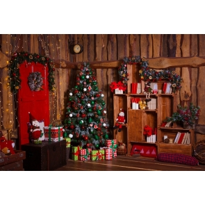Retro Wood House Christmas Tree Backdrop Photo Booth Stage Photography Background