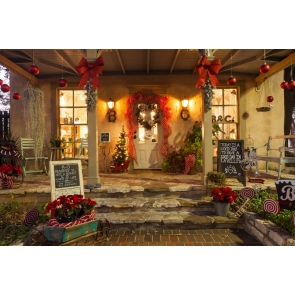Christmas Store Entrance Backdrop Photo Booth Stage Photography Background