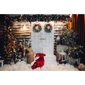 White Wood Door Christmas Backdrop Photo Booth Stage Decoration Photography Background