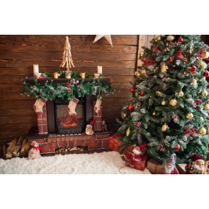 Retro Wood Wall Christmas Tree Fireplace Backdrop Photo Booth Stage Photography Background