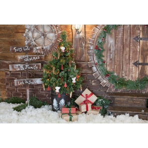 Retro Wood Wall Christmas Tree Backdrop Merry Christmas Party Stage Photography Background