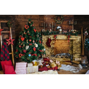 Christmas Tree Wood Fireplace Backdrop Photo Booth Stage Decoration Photography Background