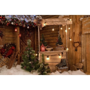 Outdoor Wood House Christmas Backdrop Photo Booth Stage Decoration Photography Background
