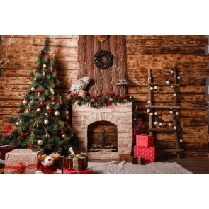 Retro Wood Wall Christmas Tree Fireplace Backdrop Stage Decoration Photography Background
