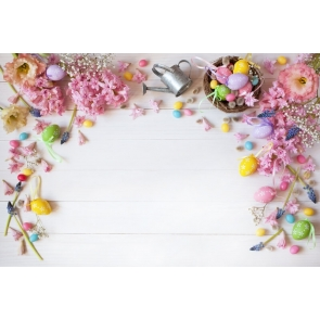 Multicolor Egg Flower Easter Wood Backdrop Party Photography Background
