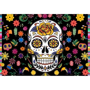 Mexican Fiesta Carnival Festival Day Flower Skull  Halloween Party Backdrop Photography Background