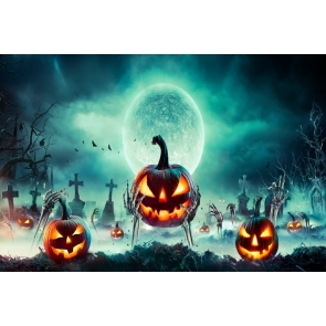 Horrible Cemetery Skull Hand Pumpkin Halloween Backdrop Stage Party Background