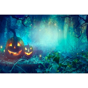 Horrible Forest Pumpkin Halloween Party Backdrop Photography Background